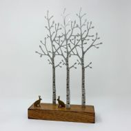 David Mayne 'Silver Birch with Hares' Steel Sculpture
